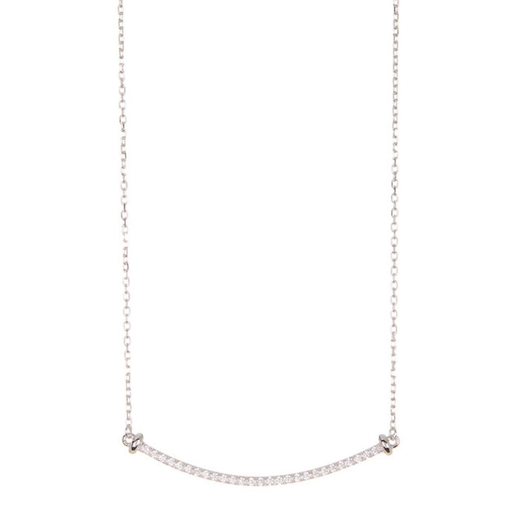 Crystal Curved Bar Necklace silver