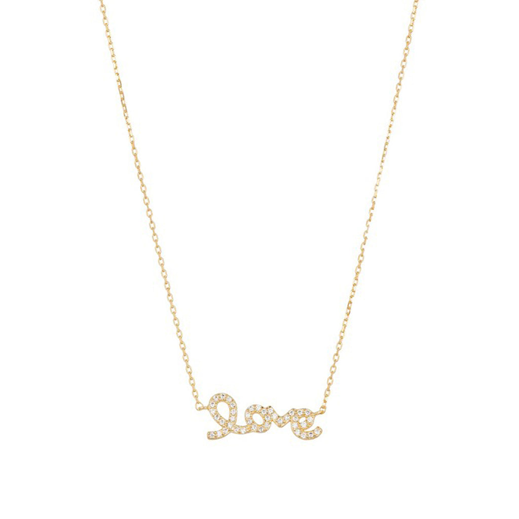 Cursive Love Necklace silver gold rose gold