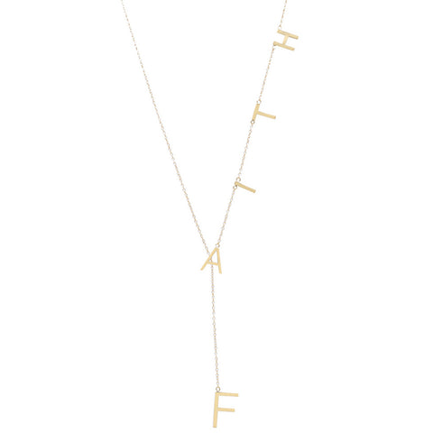 Faith Lariat Necklace silver gold rose gold
