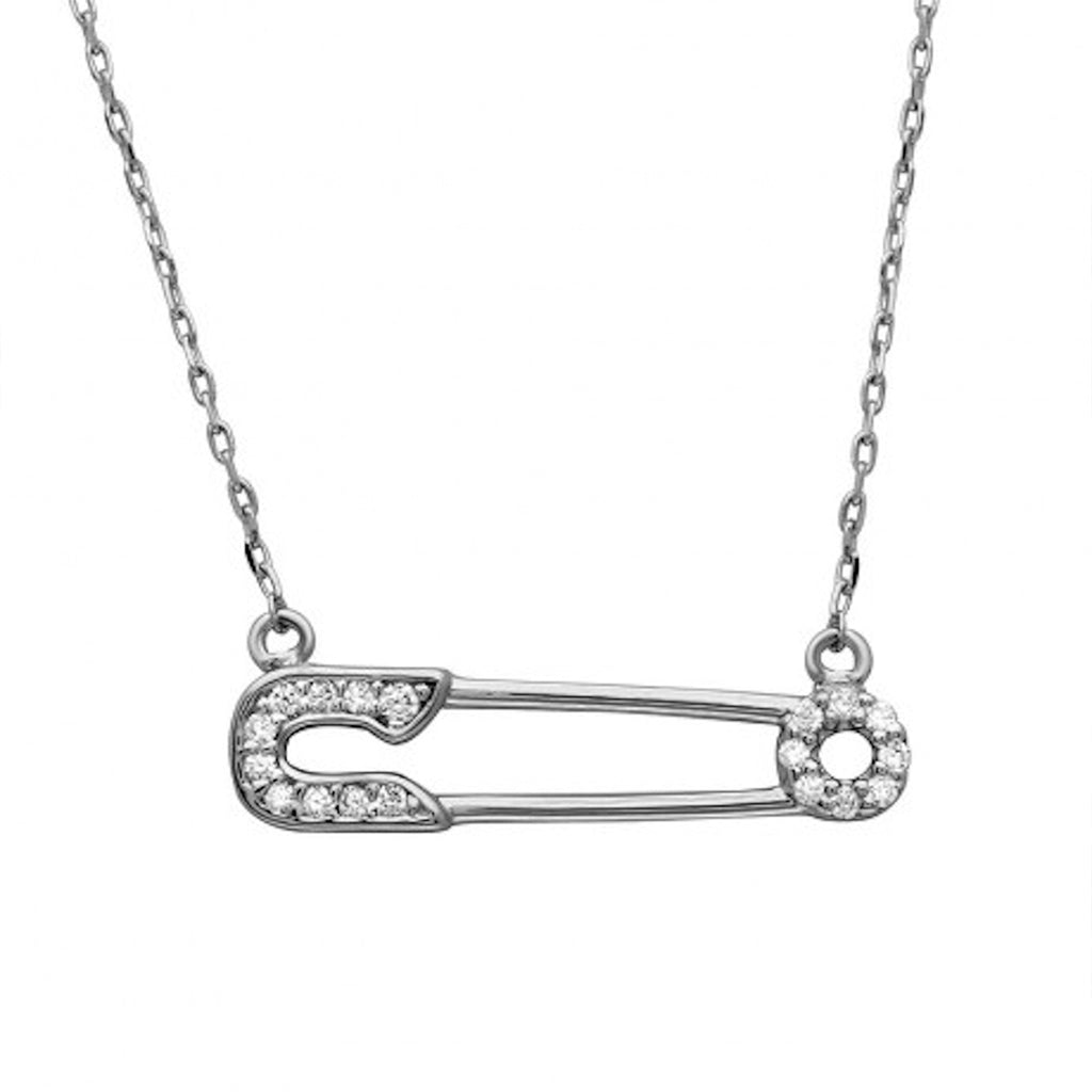 Crystal Safety Pin Necklace silver gold