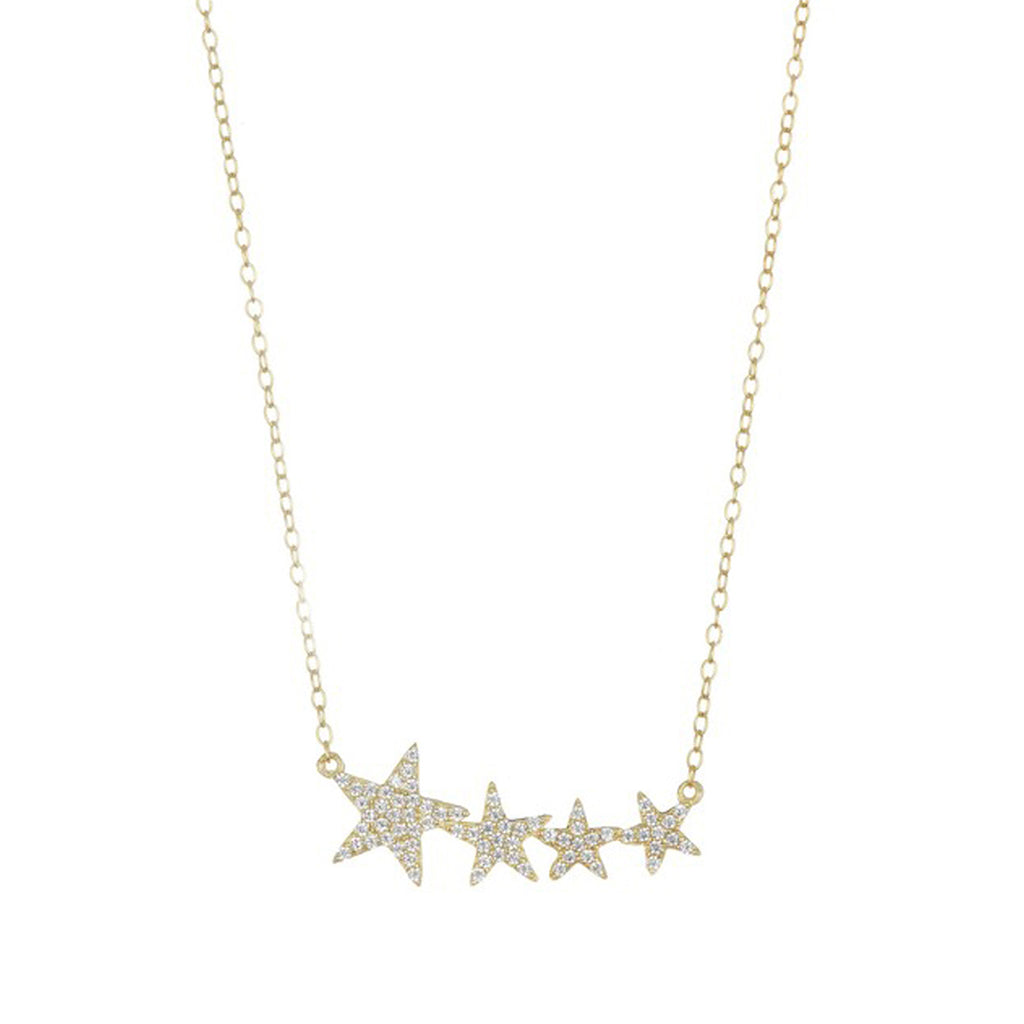 Crystal Shooting Star Necklace silver gold