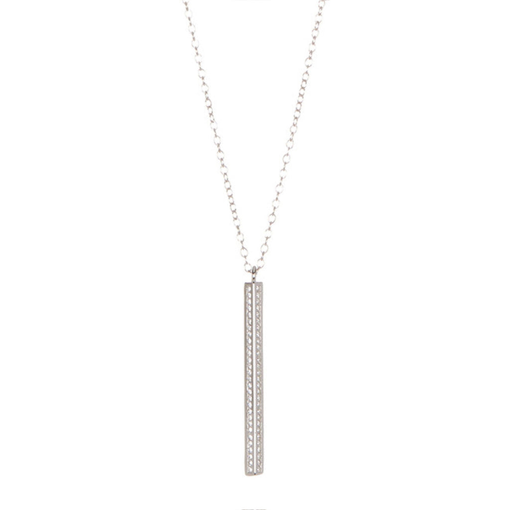 Vertical Crystal Bar Necklace silver gold