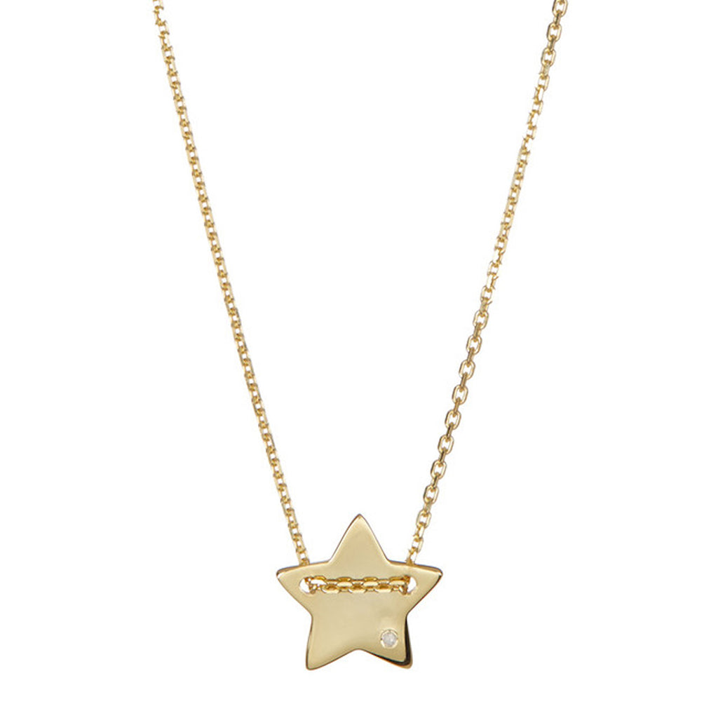Diamond Star Charm Necklace silver gold
