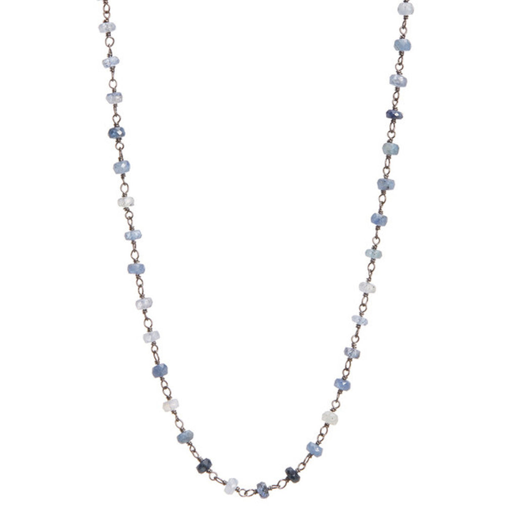Rosary Strand Necklace blue sapphire