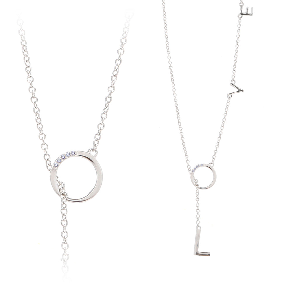 Mini Diamond Love Lariat Necklace silver gold