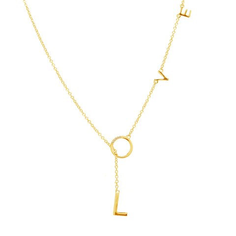 Mini Diamond Love Lariat Necklace