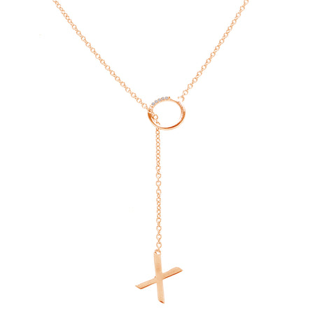 Mini Diamond XO Lariat Necklace silver gold