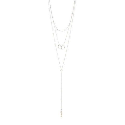 Freshwater Pearl Y- Lariat Layered Necklace silver