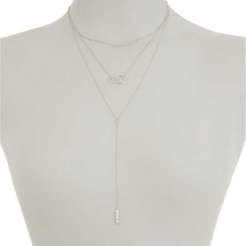 Pearl Y- Lariat Layered Necklace silver
