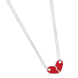 Besties Heart Enamel Necklace Set