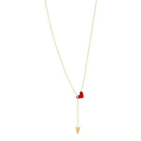 Shot Through the Heart Enamel Lariat Necklace