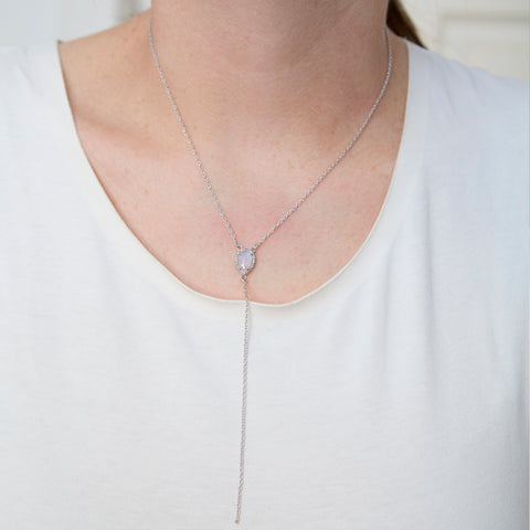 Pear Cut Y-Necklace Diamond Halo Drop Necklace moonstone silver
