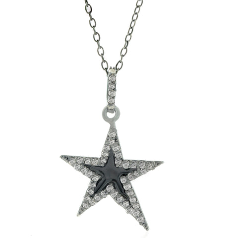 Star Black Enamel Diamond Necklace