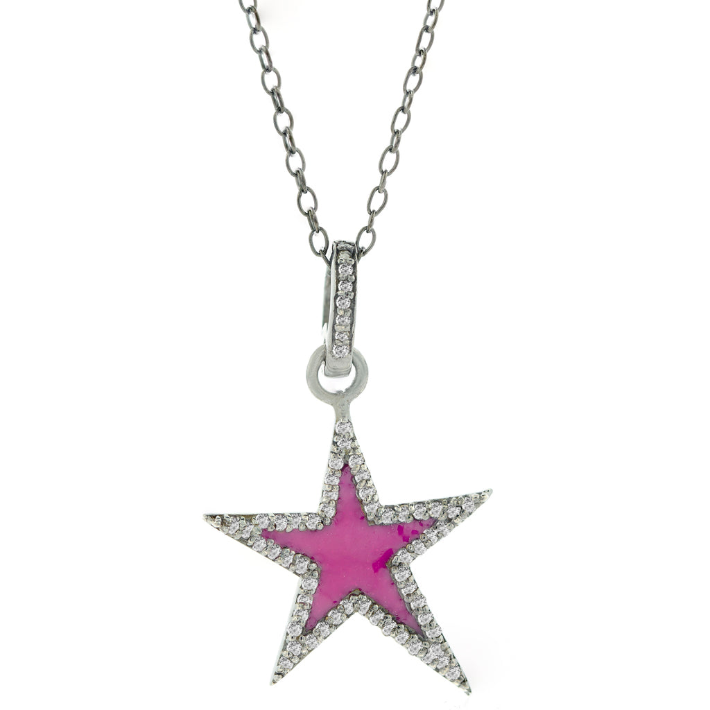 Star Pink Enamel Diamond Necklace silver