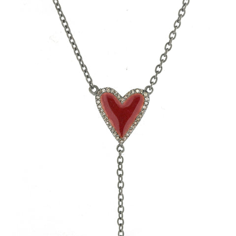 Heart Red Enamel Diamond Y-Necklace