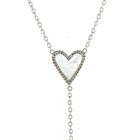 Heart White Enamel Diamond Y-Necklace