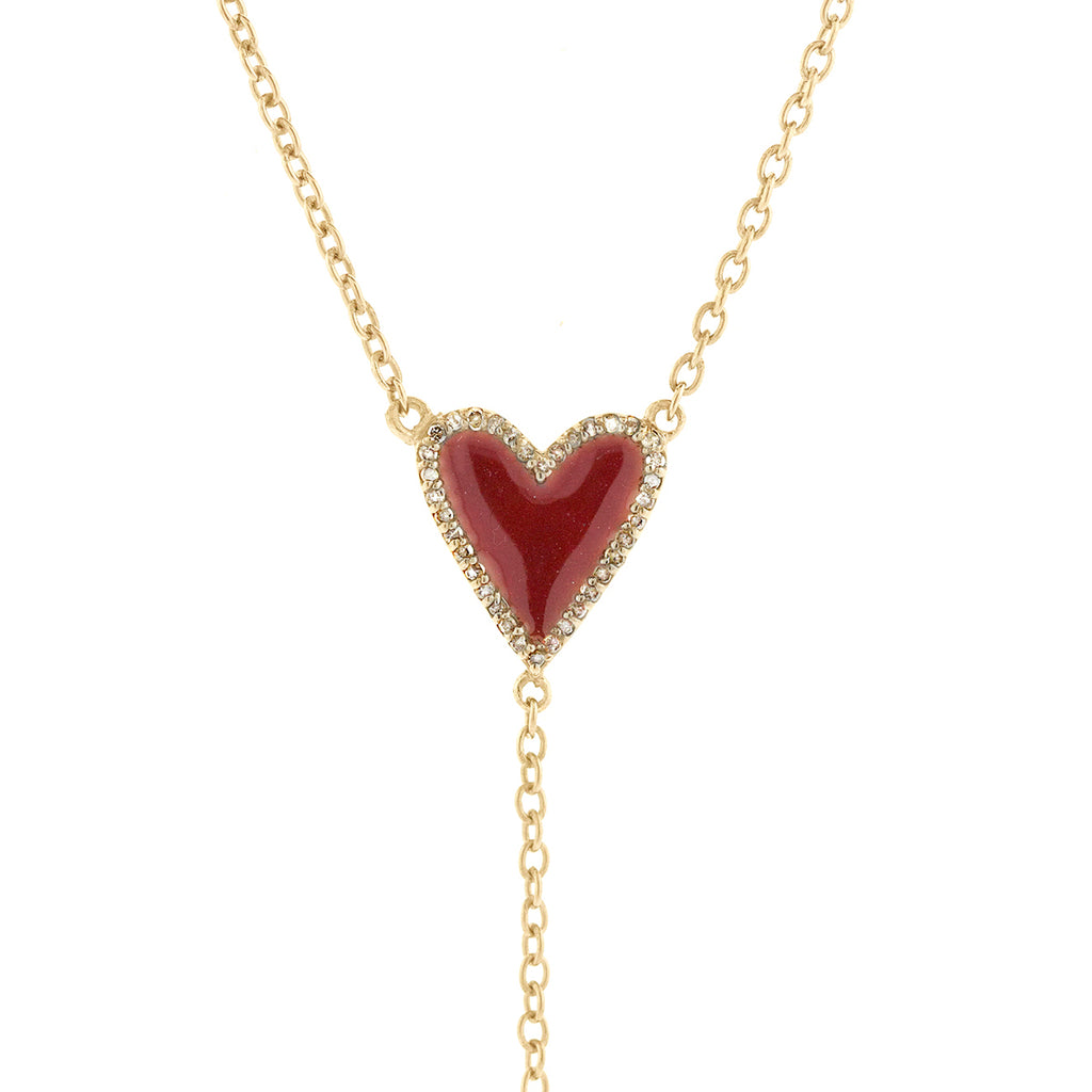 Heart Red Enamel Diamond Y-Necklace silver gold