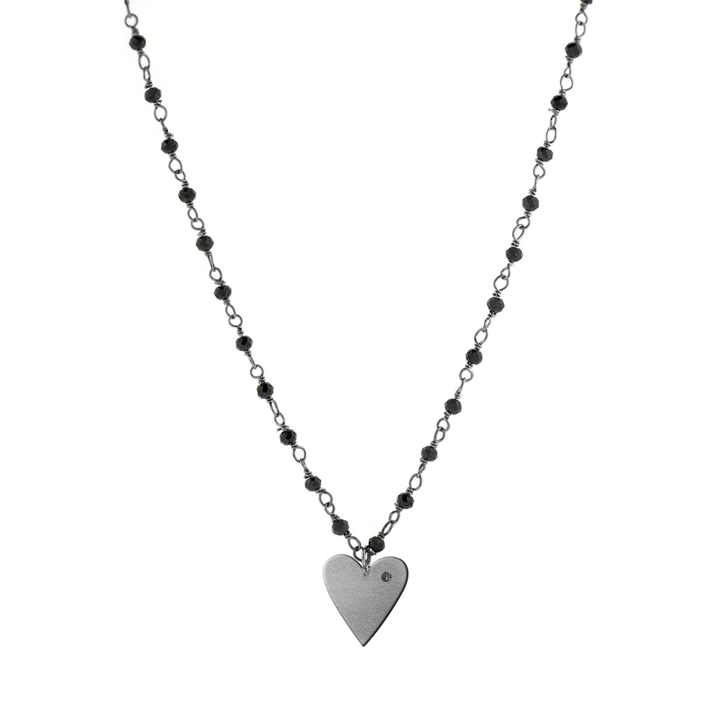 Rosary Bead Diamond Heart Necklace black spinel silver gold rose gold