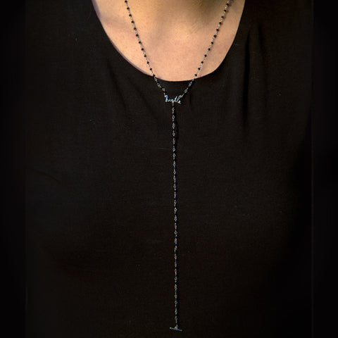 Rosary Bead Hustle Y-Necklace silver
