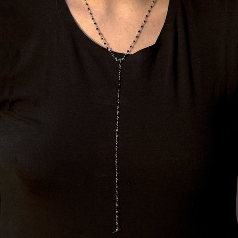 Rosary Bead Love Y-Necklace black spinel silver gold