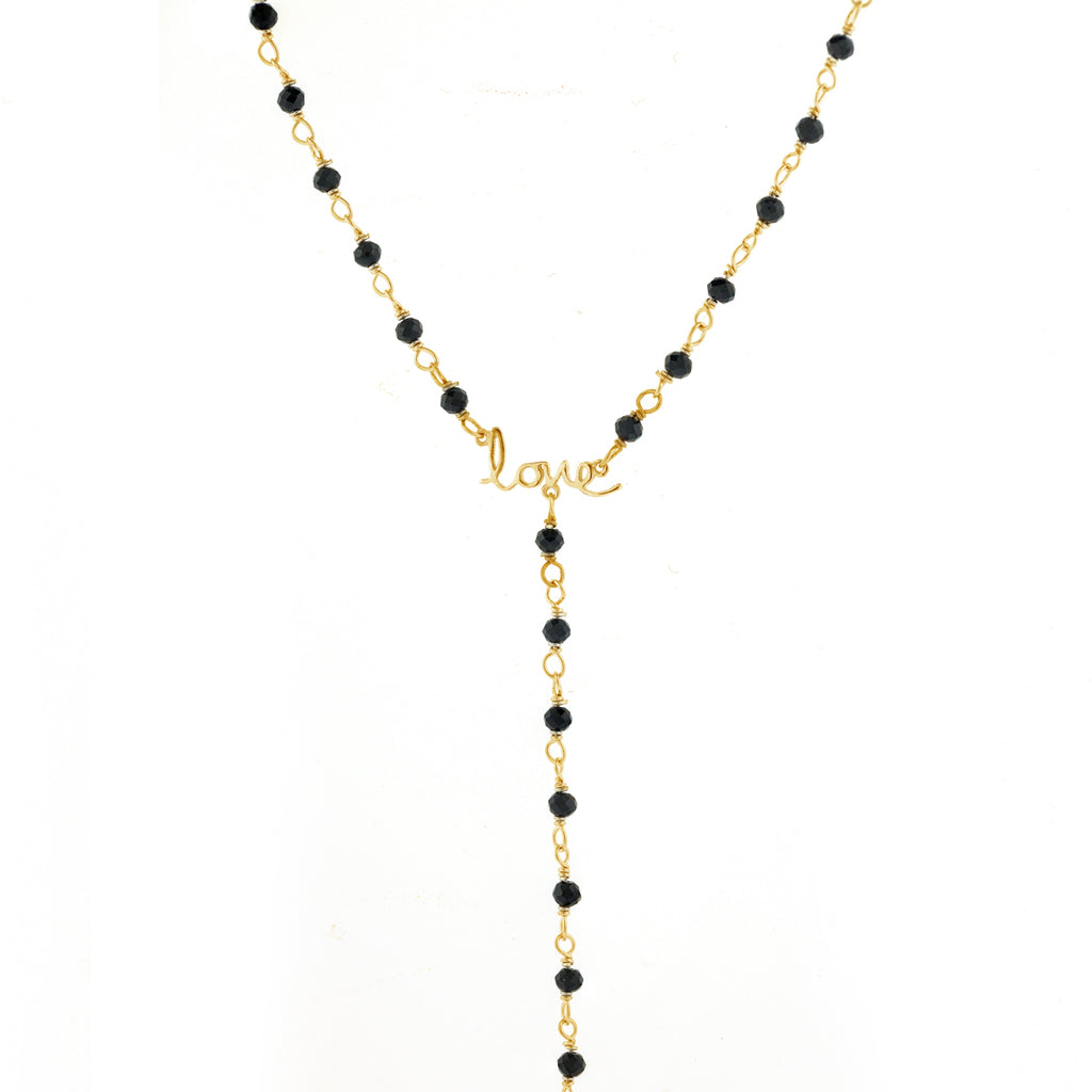 Rosary Bead Love Y-Necklace black spinel