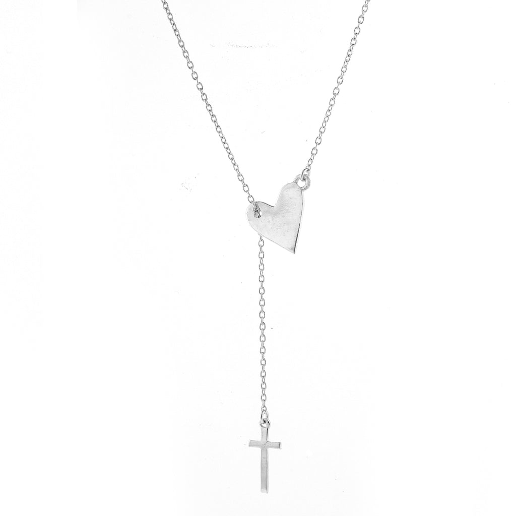 Heart and Cross Adjustable Lariat Necklace