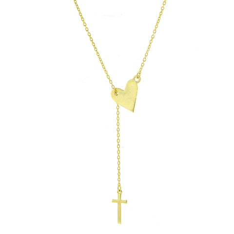 Heart and Cross Adjustable Lariat Necklace silver gold