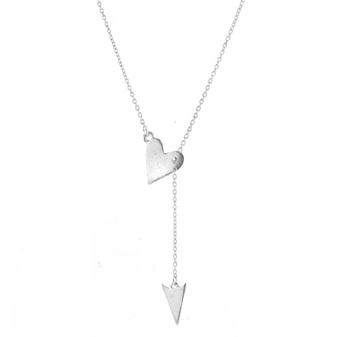 Heart and Arrow Adjustable Lariat Necklace silver gold
