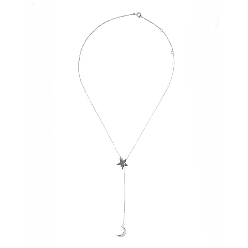 Moon and Star Adjustable Lariat Necklace