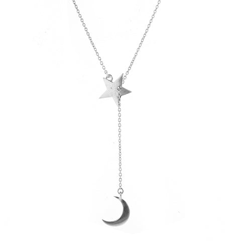 Moon and Star Adjustable Lariat Necklace silver gold