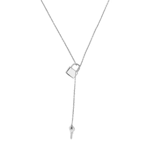 Lock and Key Adjustable Lariat Necklace