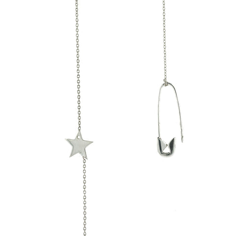 Safety Pin Star Adjustable Lariat Necklace
