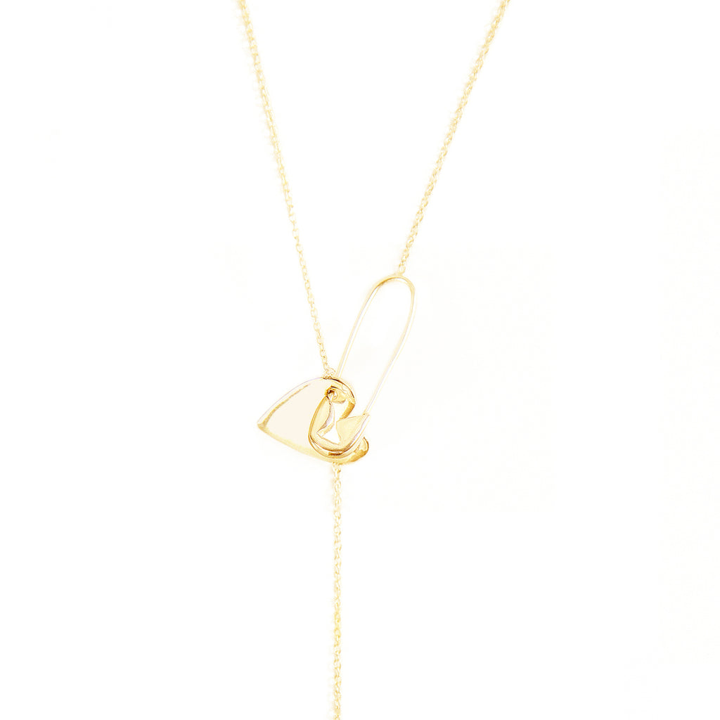 Pin Heart Adjustable Lariat Necklace