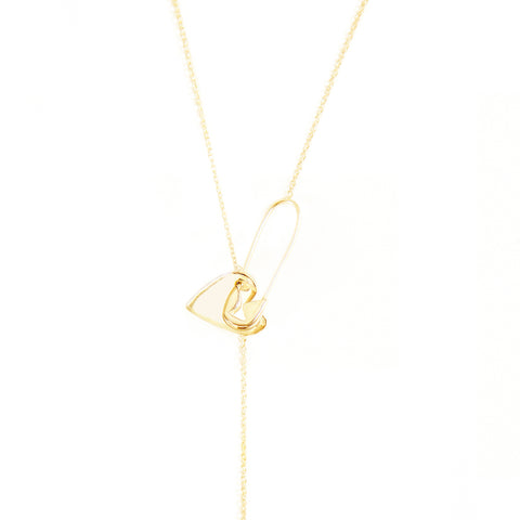 Safety Pin Heart Adjustable Lariat Necklace silver gold