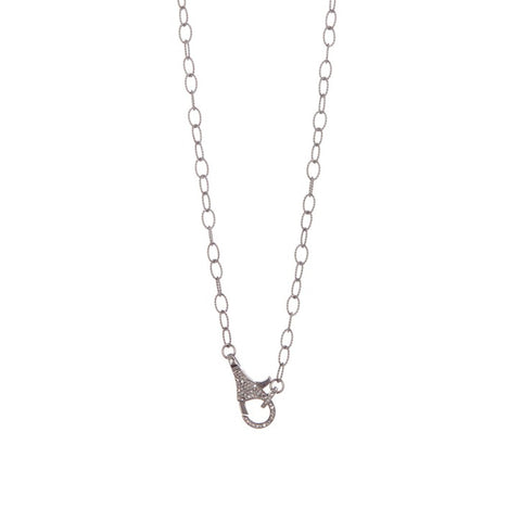 Diamond Lock Lariat Necklace silver diamond