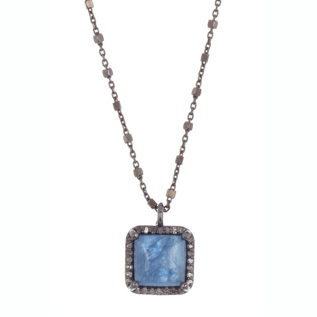Mini Zora Kyanite Diamond Necklace with Beaded Chain kyanite silver