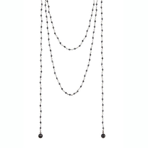 Open Wrap Rosary Necklace black spinel silver