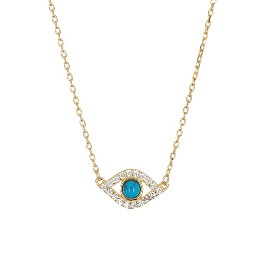 Evil Eye Charm Necklace silver gold
