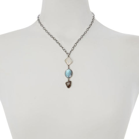 Three Drop Stone Necklace moonstone, labradorite, and smoky topaz silver