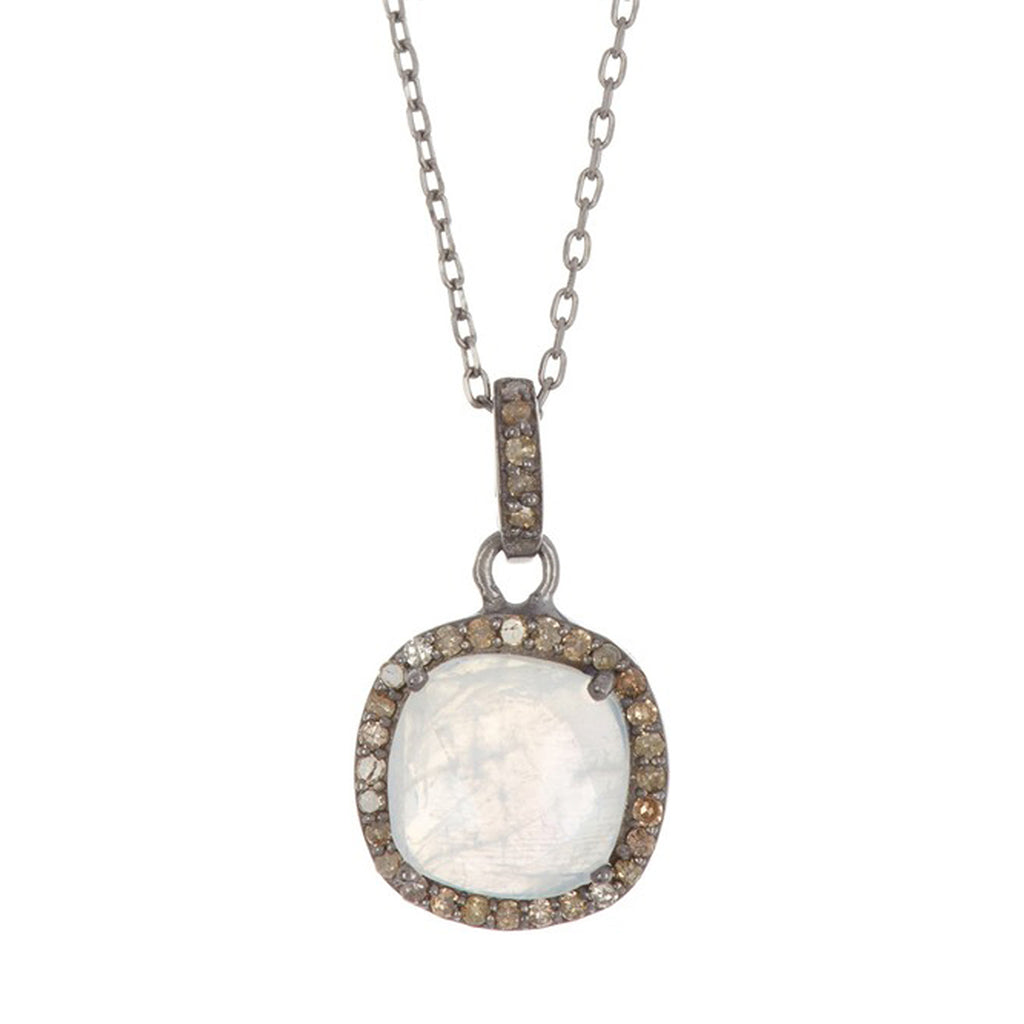 Mina Moonstone Cushion Halo Diamond Necklace moonstone silver