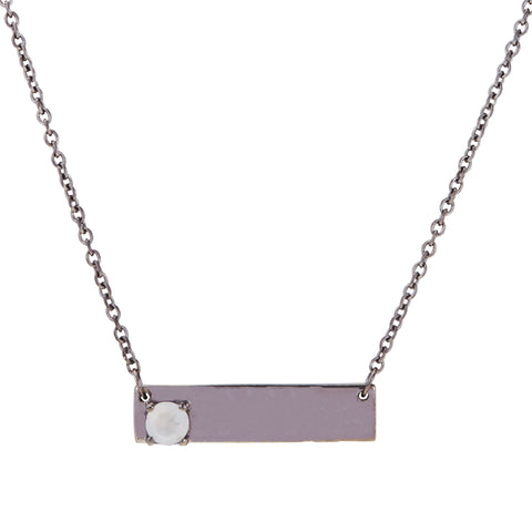 Double Sided Love Bar Necklace moonstone