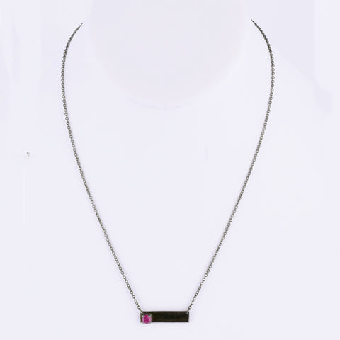 Double Sided Love Bar Necklace ruby silver gold