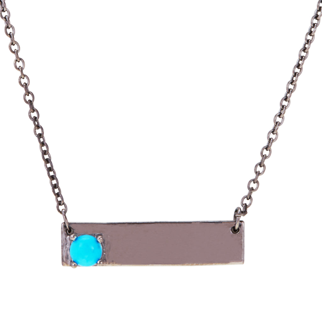 Double Sided Love Bar Necklace turquoise silver gold