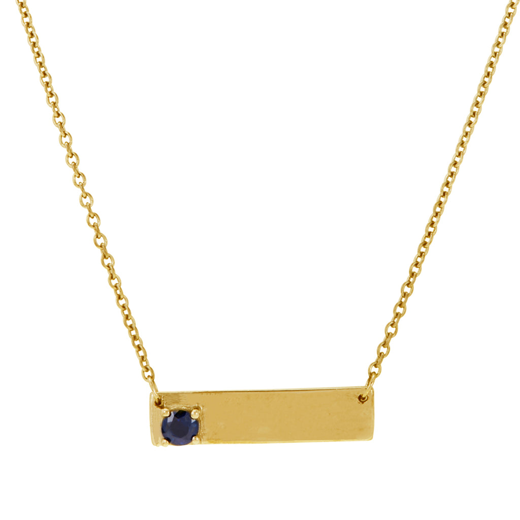 Double Sided Love Bar Necklace blue sapphire silver gold