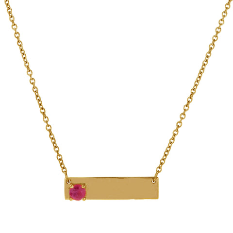 Double Sided Love Bar Necklace ruby