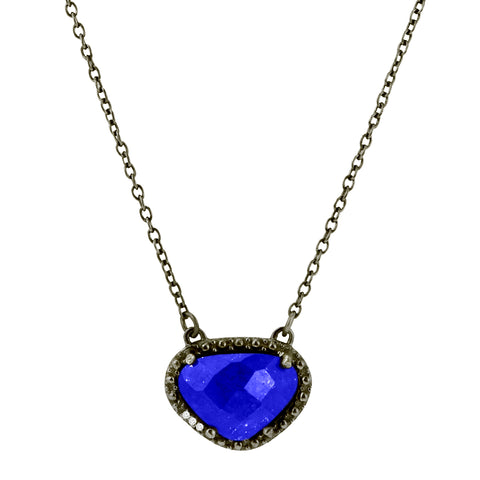 Blue Lapis Gemstone Necklace blue lapis silver gold