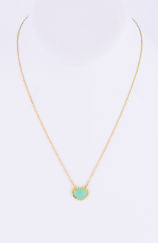 Chrysoprase Gemstone Necklace chrysoprase silver gold