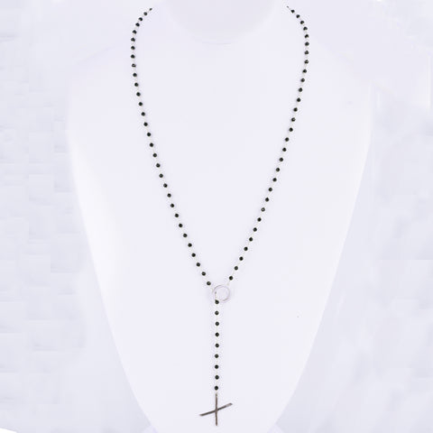 XO Rosary Lariat black spinel silver