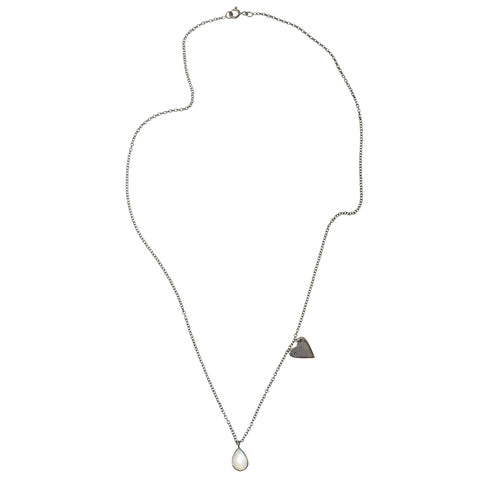 Heart Dangle Necklace moonstone
