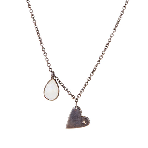 Heart Dangle Necklace moonstone silver gold